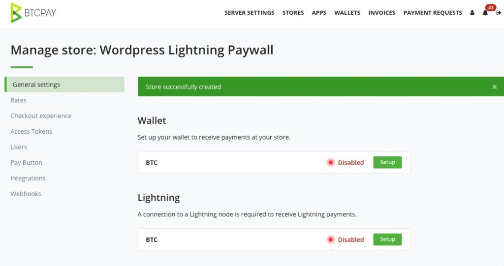 BTCPay Store general Settings New Store