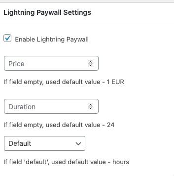 Lightning Paywall settings