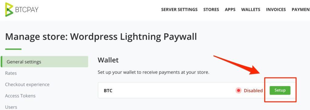 BTCPay Store Wallet setup