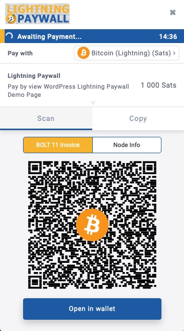 BTCPay Lightning Paywall paymentpage