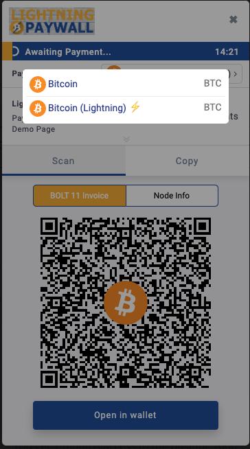 Select Bitcoin or Lightning
