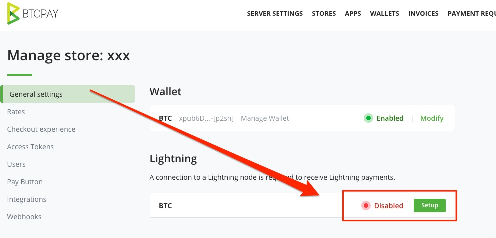 Lightning Paywall Btcpay server