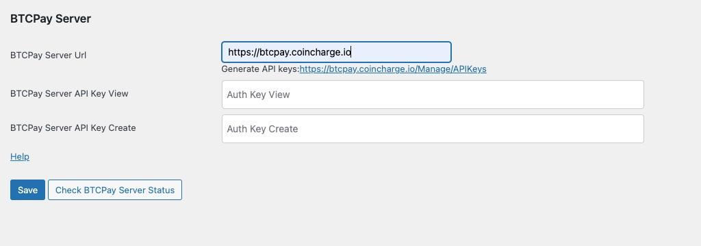 BTCPay Server Url API Key