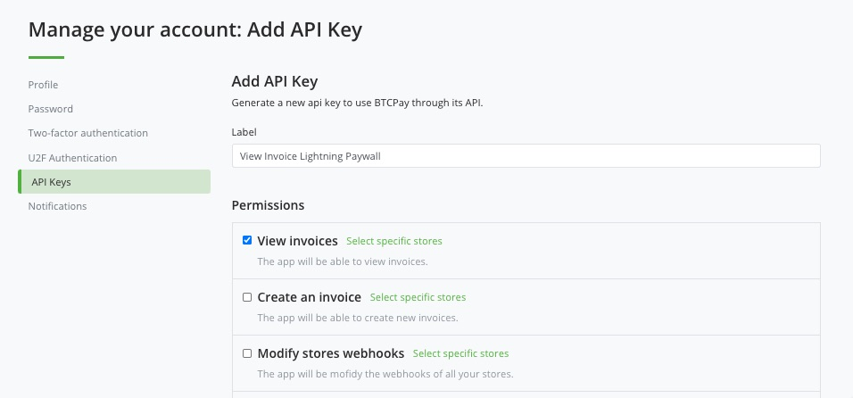API Key Permission View Invoices