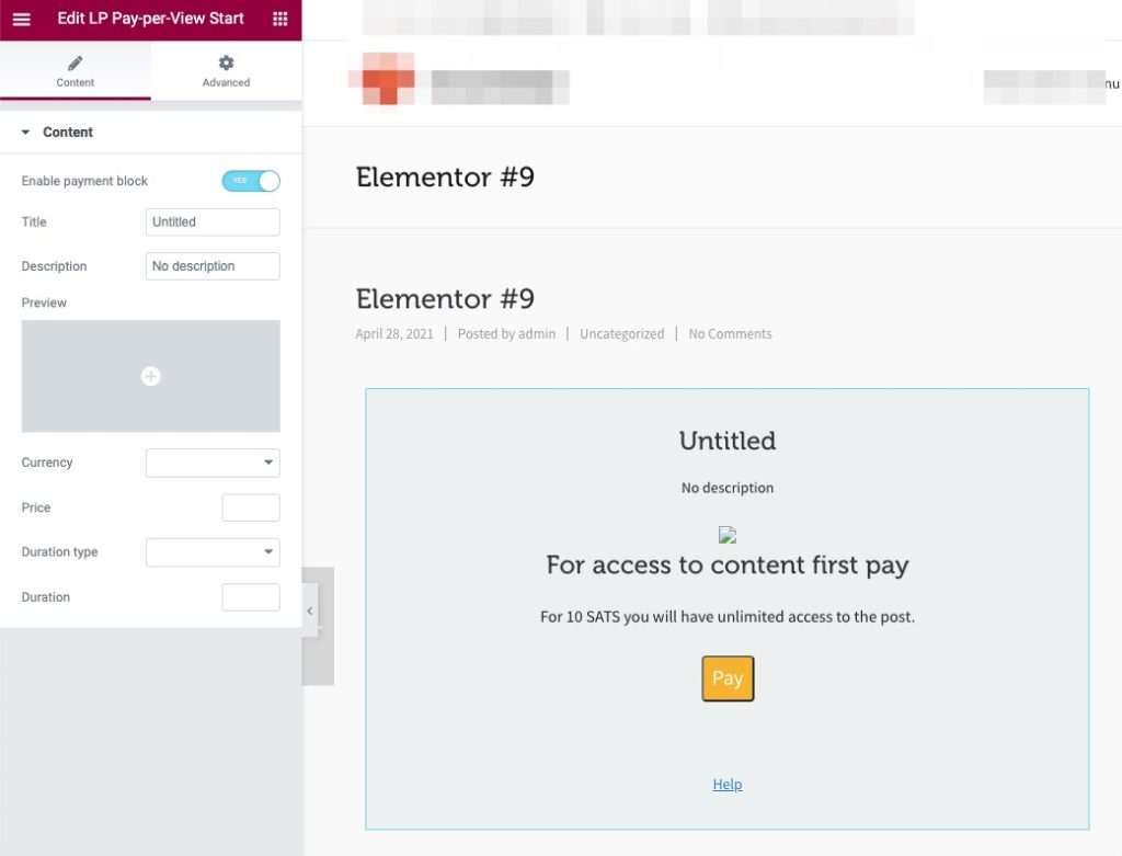 Lightning Paywall Elementor pay-per-view Video
