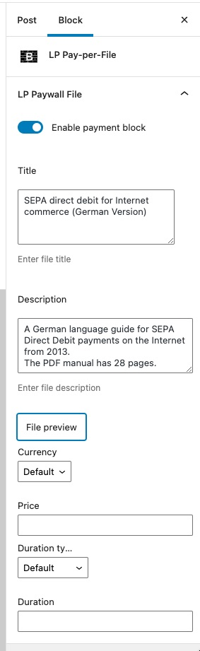 Pay-per-File Gutenberg