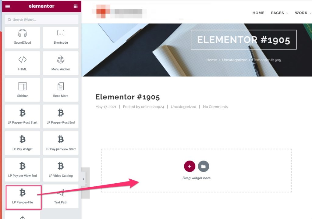 Pay per File elementor add element