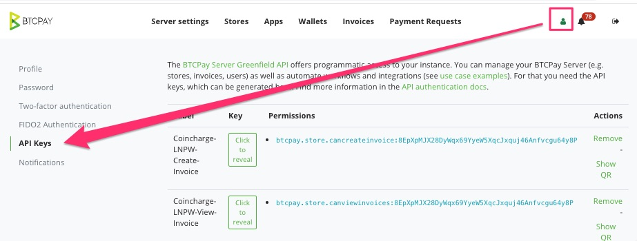API Key personal setting