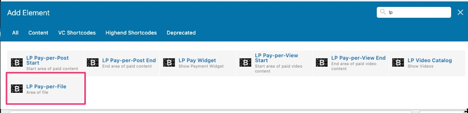 WPBakery pay-per-file add element